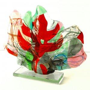 Landschap 1., 2004, 26x30x4cm, fused glass