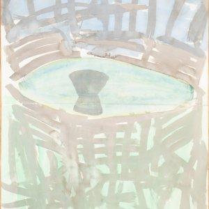 Tuinzitje, c. 2000, 150x105cm, aquarel op papier