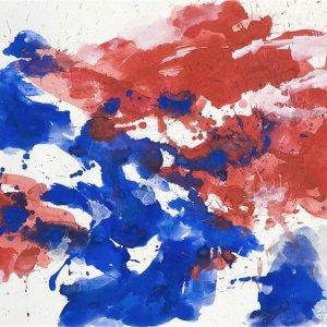 Whirl red-blue, 2007, 65x80cm, gouache op papier