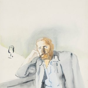 Zelfportret, 1978, 80x60cm, aquarel op papier