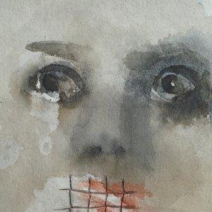 The mask frightens me, it makes me feel like my mouth is in prison – aquarel, potlood en linnen op viscose – 17,5 x 13,5 cm – 2020