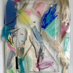 Holding/Falling, 2020, 140 x 96,mixed media on and behind perspex