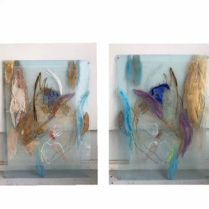 Harbor, 2020, 95 x 70, mixed media and wood on/behind/between two layers of transparent perspex, back and front sides of the same work