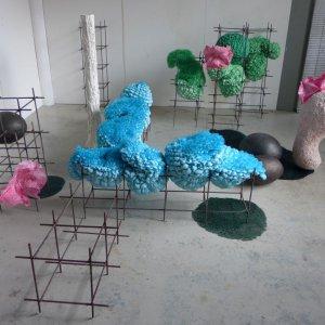 Het Hof, 2018 reinforcing bars, organza, polystyrene beads, foam, plaster, lead, epoxy,  graphite cream. 150 x 300 x 300 (variable)