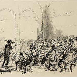 2013-05-24 NedPho-koepel, Ned. Kamerorkest en Ned. Kamerkoor, Requiem Mozart, pen en houtskool