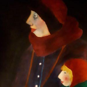 Vrouw met kind: 27-36 cm Ecoline op papier