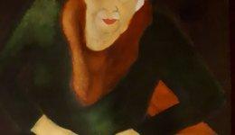 Vrouw in fauteuil 27-36 cm Ecoline op papier