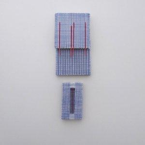 Z.T. , karton, gesso, gouache, textiel, ( 25x10 cm ) 2019