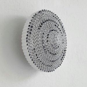 Z.T. , karton, gesso, gouache, textiel, ( doorsnede 16 cm ) 2020