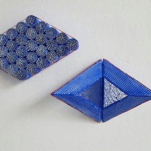 Z.T. , karton, gesso, gouache, textiel, (links 14,5x17,5 cm, rechts 23x16) 2020