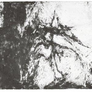 zonder titel, 2011, houtskool met bijenwas op doek, 41,5 x 29