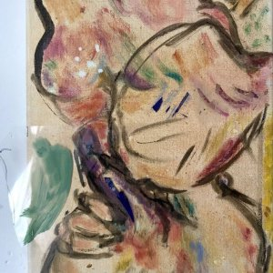 Blowjob, 2020, 40 x 34,5, mixed media and plastic on canvas