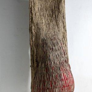 Bedding, 2018 reinforcementbars, textile, clay, foam 57 x 57 x 147 cm