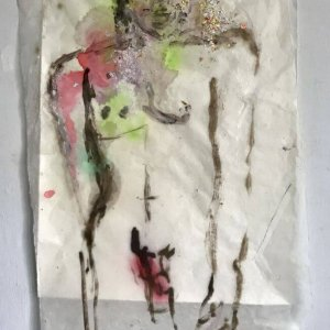 Gabriel, 2019, 76 x 52, model painting on ricepaper, mixed media