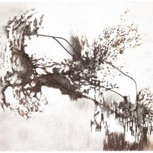 zonder titel, 2019, charbon roux van amandel op museumkarton, 100 x 70