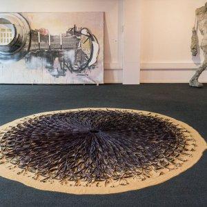 Indigo Eye  2012-2017 textile, sand diameter: 330 cm
