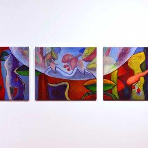 Verbinding, drieluik (2015) Acryl/linnen 3 maal 70 x 60 cm