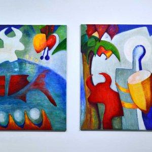 Het verlangen@004) tweeluik: 2 maal 120 x 100 cm  Acryl/linnen
