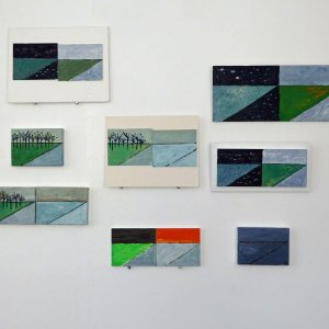 Serie Dag en Nacht windmolens 2017 acryl op kleine panelen
