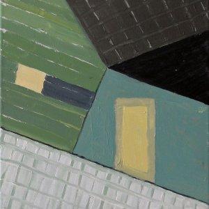 Scheef schuurtje in Zaandam 2014 acryl op doek 30 x30 cm