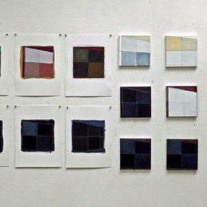 Venster serie 1 en 2 2015 acryl op doek 20x20 cm per stuk