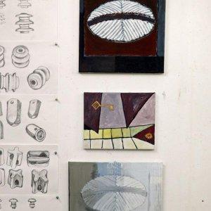 Atelier februari 2020 schetsen en acryl op paneel