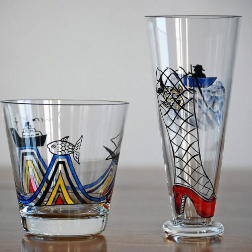 schildering op glas, 9 en 15 cm