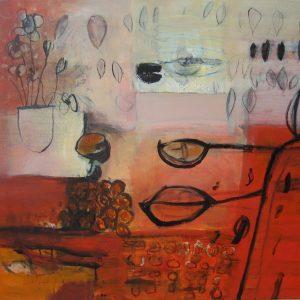 De blaadjes vallen, binnen en buiten, 2011, acryl op linnen, 100 X 120