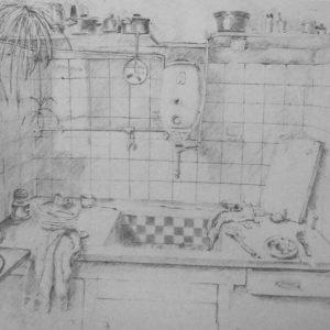 Interieurtekeningen Amsterdam Keukentje van een Loodgieter 1e Looiersdwarsstraat Amsterdam