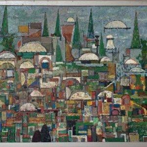 Compositie met stadsgezicht, 198?, Olieverf, 35,4 x 40,4 cm