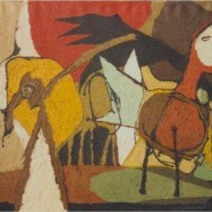 Compositie met vogel, 1960, Olieverf op doek, 69,5 x 89,5 cm