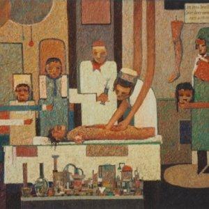 Eerste anatomische les in Amsterdam, 1985, Olieverf op doek, 60 x 75 cm