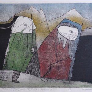Gilgamesj en Enkidu op reis, 1963, Kleurenets op papier, 30,5 x 37 cm