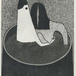 Een willekeur tegen het gezamenlijk baden in de badstoven, 1970, Ets-aquatint op papier, 41,6 x 33 cm