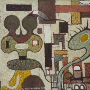 Wonderlijk dier, 1989, Olieverf op paneel, 37,5 x 49,5 cm