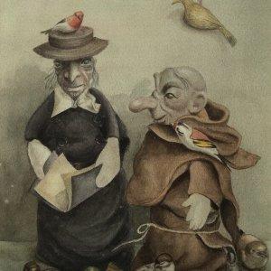De predikers, 1987, aquarel op papier, 56 x 40 cm