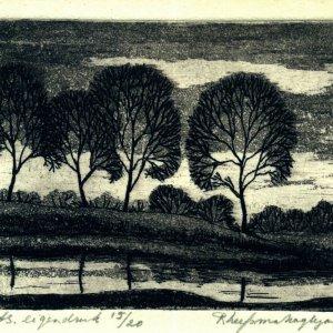 Landschap met bomen, 1983, ets, 10 x 12 cm