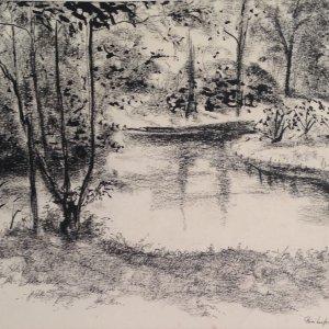 Park, 1965, houtskool en oost-indische inkt, 22 x 29,5 cm