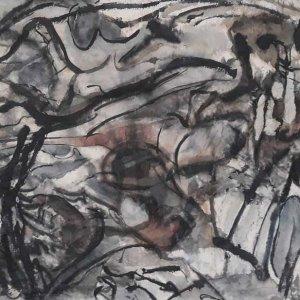Moeras.-Inkt-en-aquarel-op-rijstpapier-90-x-180-cm-2019-20
