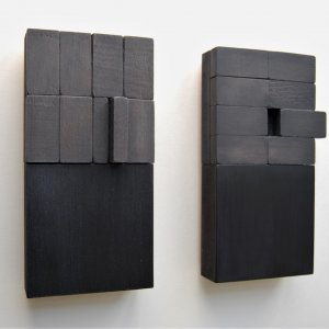 Blockdialogues bd-33 and bd 34, 2019, oil on wood and MDF,  resp 20x10x4cm and 20x11x3cm