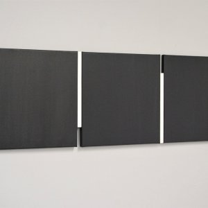 Shifts black/white, 2020, oil on wood and canvas, 40x123.6cm