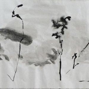 Serie-Boswandeling-3.-Inkt-op-rijstpapier.-60-x-180-cm.-2020