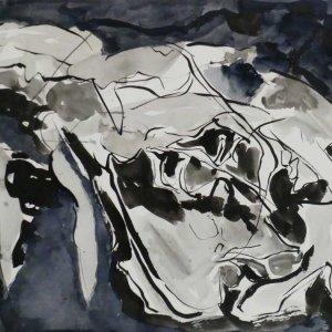 Serie-schedels-II-3.-Inkt-en-gouache-op-papier-.-70-x100-cm.-2019