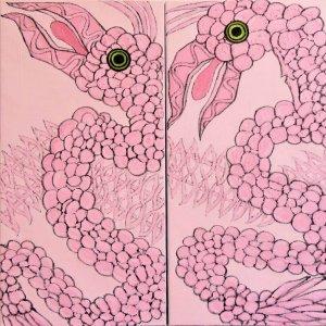 The strange pink bird no 2, 2019, olieverf op linnen, 2 maal 50cm x 100cm