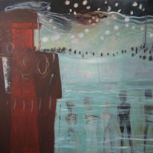 Verloren dromen (op zee verdronken vluchtelingen), 2016, acryl op linnen, 180 X 200