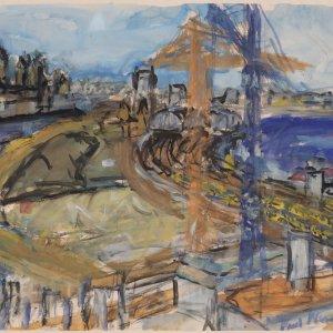 Bouwkranen aan het Oosterdok, 2005, gouache op papier, 70 x 90 cm
