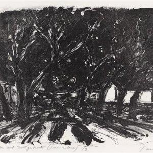 De Zeven Zusters op KNSM-eiland, 1977, zwart-witlitho, 27 x 35cm