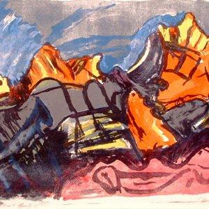 Grijze rotsen in Bretagne, 2000, kleurlitho, 40 x 50cm