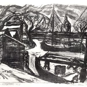 Winter aan het Entrepotdok, 1985, zwart-witlitho, 26 x 35cm