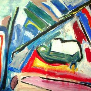 'Zeezicht met Ovaal & Diagonaal', 1989, 125x160cm, acryl op linnen